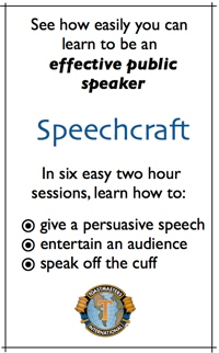 Public Speaking Classes: Speechcraft by Toastmasters, learn persuasive speeches, entertaining speeches, speaking off the cuff